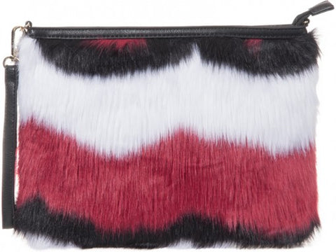 Colour Block Furr Bag - sky williams collections