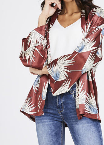 Chic Palm Print Kimono Blazer - sky williams collections