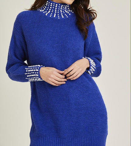 Pearl Embellished Cuff & Collar Jumper - sky williams collections