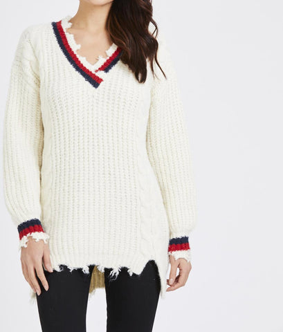 Jane V-Neck Cable Knit Jumper - sky williams collections