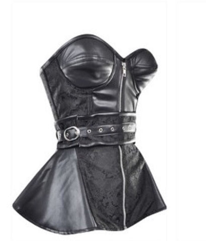 Black leather look belt corset - sky williams collections