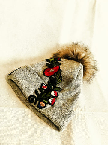 Embroidery Fur Ball Wool Beanie (Available in other colours) - sky williams collections