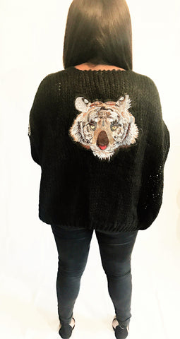 Tiger Embroidery Patches Oversize Cardigan. (Available in other colours) - sky williams collections