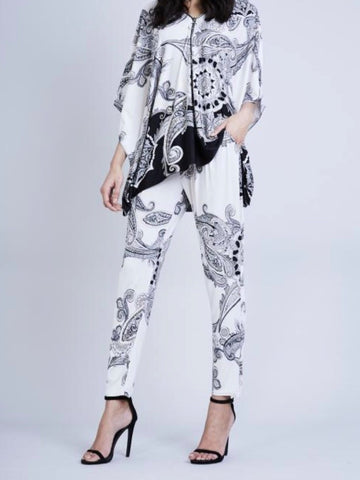 2 Piece Print Zip Up Suit