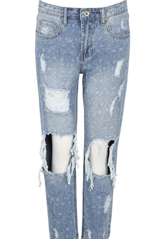 Blue Printed Washed Distressed Jeans - sky williams collections