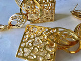Gold Plated 3D Boxed Cage Zirconia Filled Dangly Dangle Earrings.