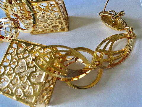 Gold Plated 3D Boxed Cage Zirconia Filled Dangly Dangle Earrings. - sky williams collections