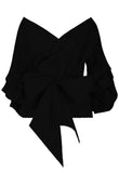 Bow-tie Cross Over Layered Sleeve Crop Top (Available in other colours) - sky williams collections