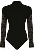 Gold Studded Detail Bodysuit (Black) - sky williams collections