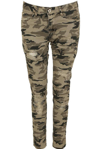 Camouflage Ripped Thighs Jeans - sky williams collections