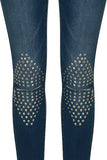 Medium  BlueDenim Studs Knees Embellished Detail V Cut Ankle Jeans - sky williams collections