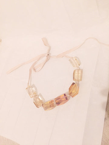 NICOLE FARHI Transparent Moulded Block Necklace - sky williams collections