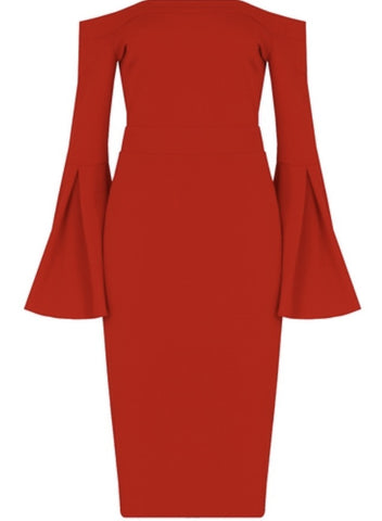 Bella Off the Shoulder Bell Sleeve Midi Dress (more colours availble) - sky williams collections