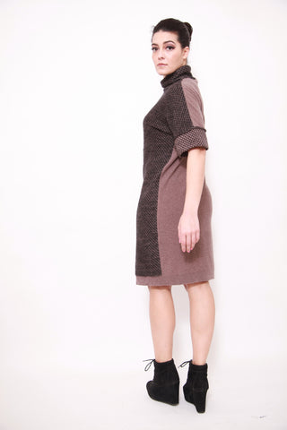 Oversize Turtle Neck Two-tones Jumper Dress - sky williams collections