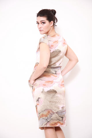 Poppy Cream Printed  Satin Dress - sky williams collections