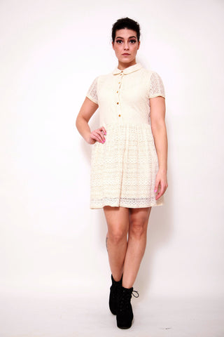 River Island Cream Collar Lace Shift Dress - sky williams collections