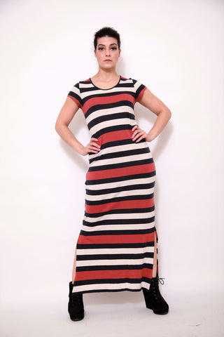 Colour Block Bandeau Jersey Maxi Dress - sky williams collections