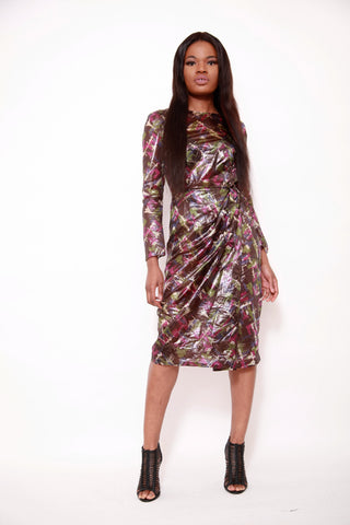 Liquid Metalic Nylon Flora Print Dress - sky williams collections