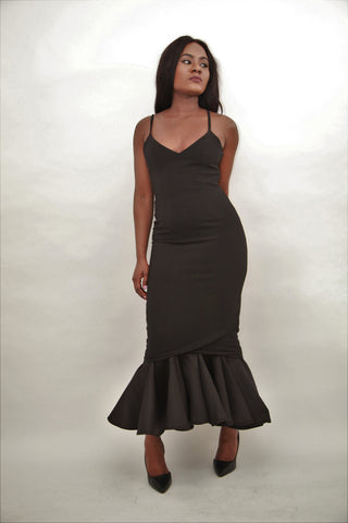 AQ Spagetti Strap Mermaid Dress, Black - sky williams collections