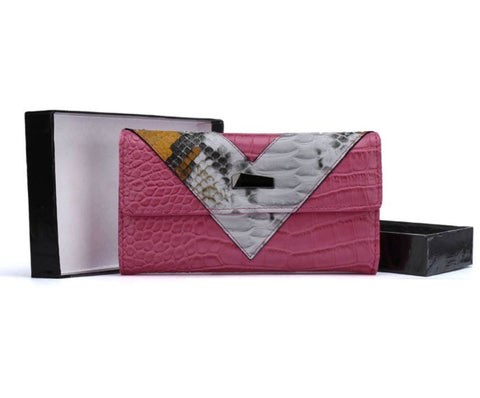 Crocodile Pattern Patchwork Wallet (More Colours Available) - sky williams collections