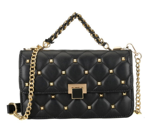 Chic Rivet Lattice Chain Handbag - sky williams collections