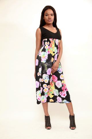 Casual Flora Patchwork Long Dress - sky williams collections