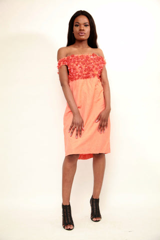 Orange Basket Linen Dress - sky williams collections
