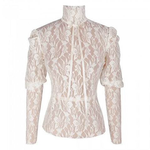Beautifully Laced Cream and Black Top - sky williams collections