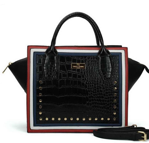 Suzi Crocodile Pattern Rivets Square Handbag - sky williams collections