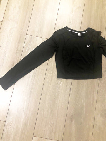 Long Sleeve Seamless Crop Top - Black - sky williams collections