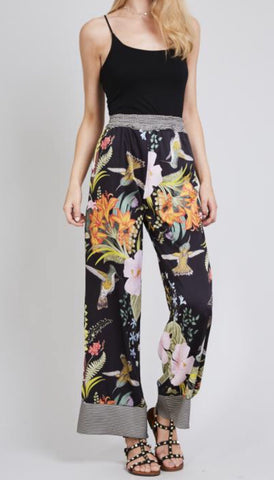 Floral Print Wide Leg Silk Trousers - sky williams collections