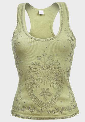 Ladies Beaded Vest - Pistachio - sky williams collections