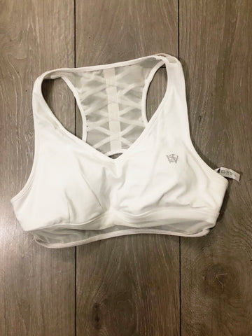 Mesh Insert Cutout Racerback Sports Bra - White - sky williams collections