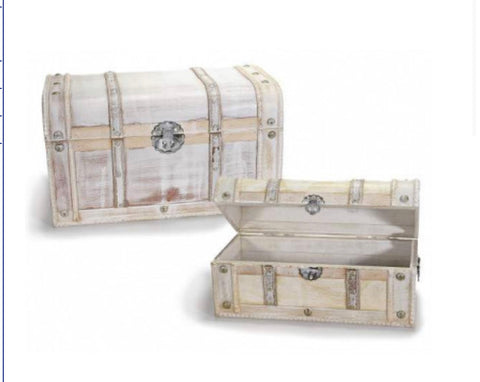 Treasure trunks vintage wooden antique white