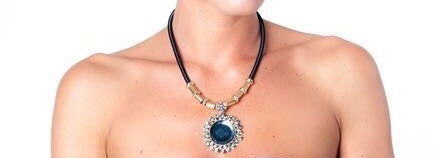 Bella Rosa Pendant necklace with blue round cut gemstones and crystal detail