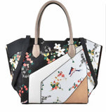 Black - Patchwork Trapeze Handbag - sky williams collections