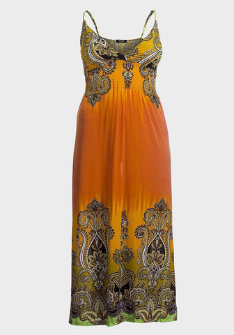 Multi orange maxi dress - sky williams collections