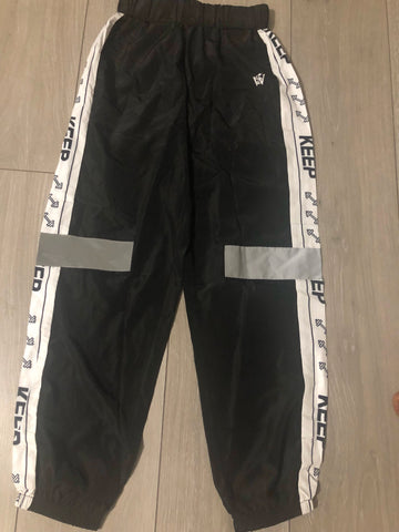 Black/White Colour Block Shell Suit Trousers - sky williams collections