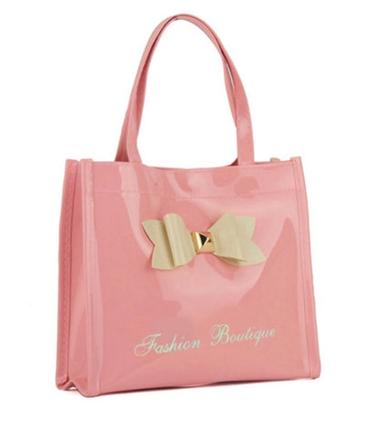 Patent Bow Mini Boutique shopping bag with zip - sky williams collections