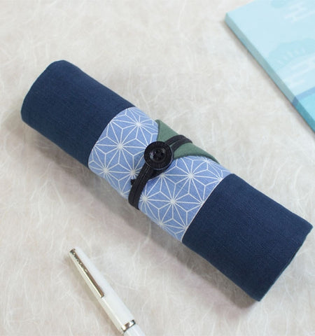Blue Geometric Floral Asian Pencil Roll Case