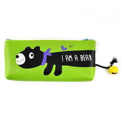 Animal Bell Pencil Pouch-Lime Green Bear