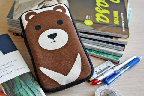Brown Bear Butterfly Pencil Pouch
