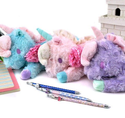 Pastel Unicorn Plush Pencil Case