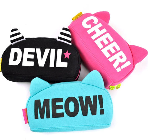Neon Cat Ears Pencil Cases