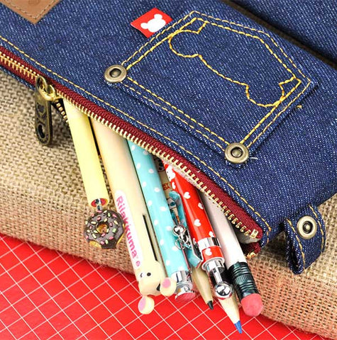 Mini Rilakkuma Demin Jean Pencil Pouch