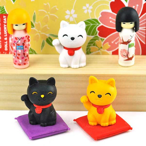 Kokeshi Doll and Lucky Cat Eraser Set