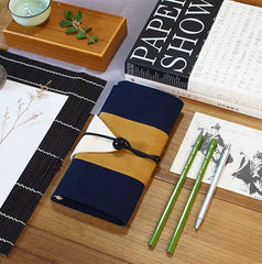 Osamu Navy and Cream Japanese Pencil Roll Case