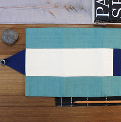Osamu Blue Sage and Navy Blue Japanese Pencil Roll Case
