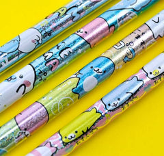 Mamegoma Glittery Pencil and Eraser Set