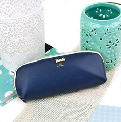 Pastel Bow Pencil Pouch-Navy Blue